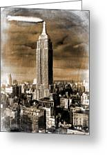 Empire State Building Blimp Docking Sepia Greeting Card