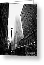 Empire State Building Shrouded In Mist And Nyc Bus Taken From 34th And Broadway Nyc New York City Greeting Card by Joe Fox