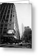 Empire State Building Shrouded In Mist As Pedestrians Crossing Crosswalk On 7th Ave New York Greeting Card
