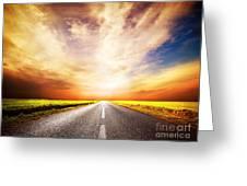 Empty Asphalt Road. Sunset Sky Greeting Card