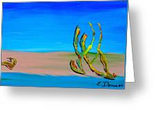 Empty Beach In Tel Aviv Abstract Seascape Greeting Card