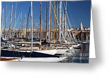 Empty Masts In Vieux Port Greeting Card