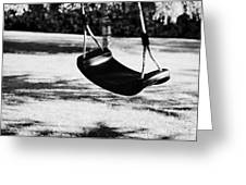 Empty Plastic Swing Swinging In A Garden In The Evening Greeting Card