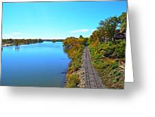 Empty Train Tracks Of Rockford On The Rock River With Fall Colors Greeting Card