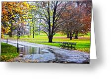 Empty Walkway On A Beautiful Rainy Autumn Day Greeting Card