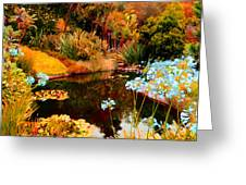 Enchaned Blue Lily Pond Greeting Card