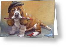 Enchanted Basset Hound Artist Greeting Card