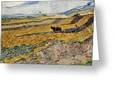 Enclosed Field With Plowman  Greeting Card