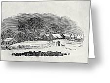 Endpiece, Late 18th Or Early 19th Century Wood Engraving 99;landscape; Winter; Figure; Snow; Snowy; Greeting Card