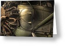 Radial Engine And Fuselage Detail - Radial Engine Aluminum Fuselage Vintage Aircraft Greeting Card by Gary Heller