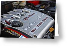 engine cover on an Alfa Romeo twin spark engine in a 156 Greeting Card by Joe Fox