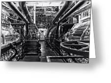 Engine Room Queen Mary 02 Bw 01 Greeting Card