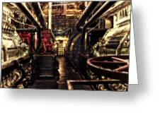 Engine Room Queen Mary 02 Sepia Greeting Card