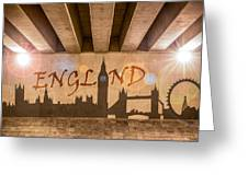 England Graffiti Landmarks Greeting Card