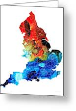 England - Map Of England By Sharon Cummings Greeting Card