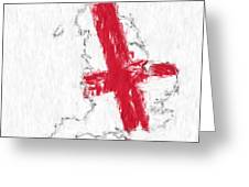 England Painted Flag Map Greeting Card