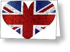 England Union Jack Flag Heart Textured Greeting Card