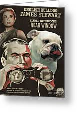 English Bulldog Art Canvas Print - Rear Window Movie Poster Greeting Card