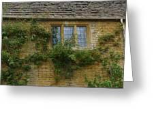 English Cottage Window Greeting Card