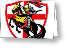 English Knight Lance England Flag Shield Retro Greeting Card