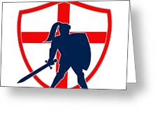 English Knight Silhouette England Flag Retro Greeting Card by Aloysius Patrimonio