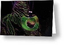 Enigma Emerald. Black Art Greeting Card by Jenny Rainbow