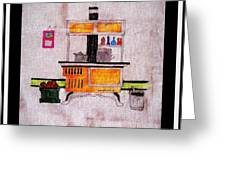 Enterprise Woodstove - Yellow Greeting Card by Barbara Griffin