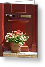 Entrance Door With Flowers Greeting Card