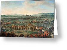 Entrance Of The Emperor Franz I Stephan And His Son Joseph II Into Frankfurt Greeting Card
