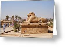 Entrance Sculpture By The Temple Of Karnak Greeting Card