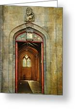 Entrance To The Gothic Revival Chapel. Streets Of Dublin. Painting Collection Greeting Card