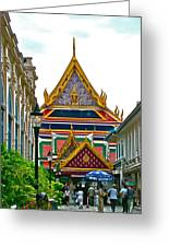 Entryway To Middle Court Of Grand Palace Of Thailand In Bangkok Greeting Card