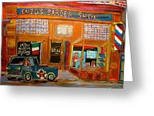 Enzo's Barber Shop Greeting Card