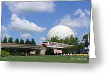 Epcot And The Monorail Ride Greeting Card