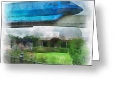 Epcot Globe And Blue Monorail Walt Disney World Photo Art 01 Greeting Card