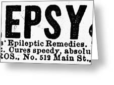 Epilepsy Treatment, 1878 Greeting Card