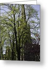 Episcopal Cathedral In Edinburgh Visible Through Trees Greeting Card