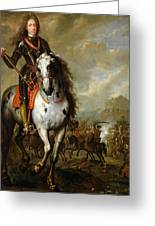 Equestrian Portrait Of Prince Eugene De Savoie 1663-1736 C.1700-10 Oil On Panel Greeting Card
