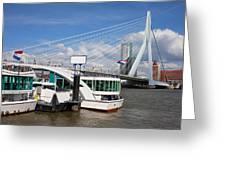 Erasmus Bridge In Rotterdam Downtown Greeting Card by Artur Bogacki