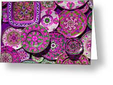 Erice Sicily Plates Pink Greeting Card