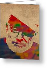 Ernest Hemingway Watercolor Portrait On Worn Distressed Canvas Greeting Card