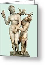 Aphrodite, Pan And Eros Greeting Card