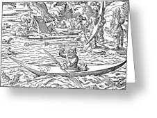 Eskimos Hunting, 1580 Greeting Card