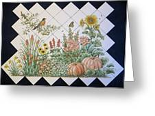 Espinosa's Flower Garden Tile Mural Greeting Card by Julia Sweda