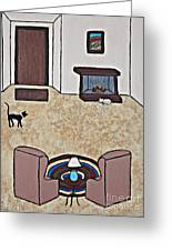 Essence Of Home - Black And White Cat In Living Room Greeting Card