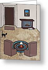 Essence Of Home - Cat By Fireplace Greeting Card