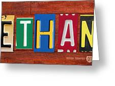 Ethan License Plate Name Sign Fun Kid Room Decor. Greeting Card