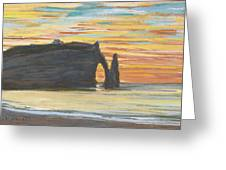 Etretat. Cliff Of Aval Greeting Card