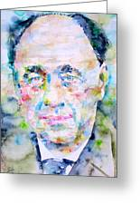 Eugene Ionesco - Watercolor Portrait Greeting Card