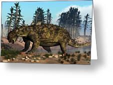 Euoplocephalus Dinosaur Grazing Greeting Card